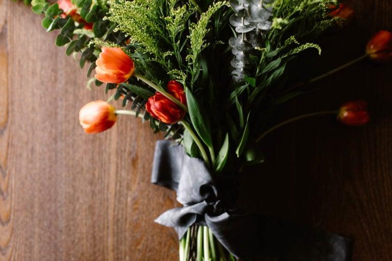 colorful springtime DIY elopement bouquet with a boho look