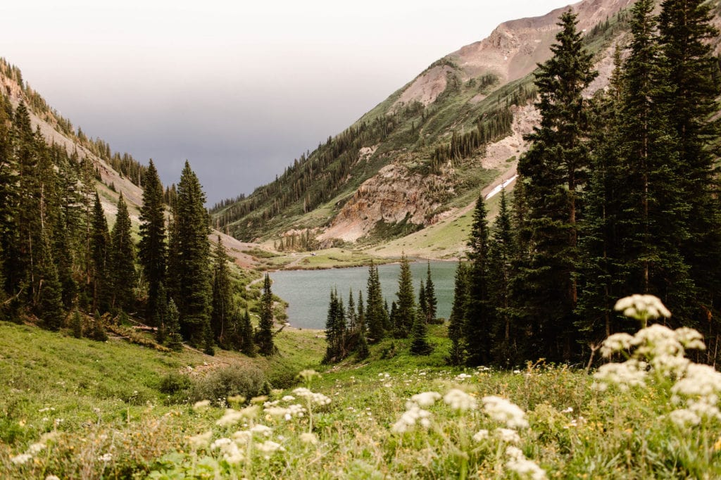 alpine lake with wildflowers in July in CB Colorado