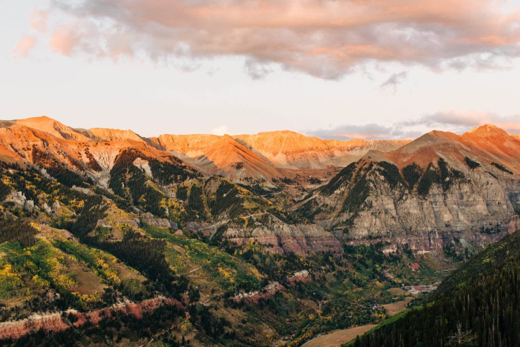 view from the overlook in Telluride after taking the gondola up the mountain at sunset