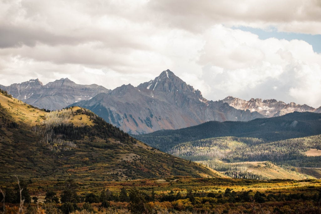 view of Colorado 14er Mt Sneffels from Ridgway Colorado
