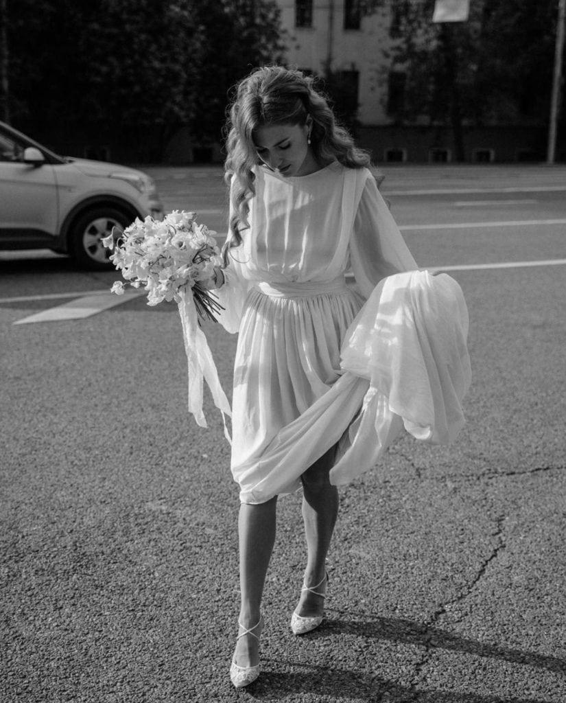 airy high neck long sleeve goddess wedding dress
