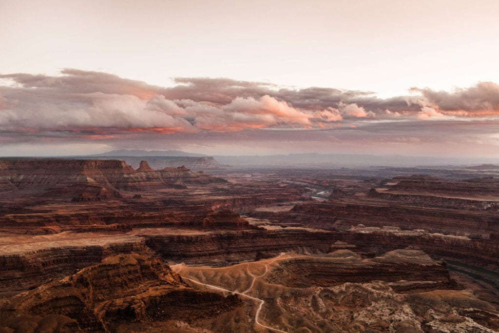 Dead Horse Point Moab Utah cotton candy sunset