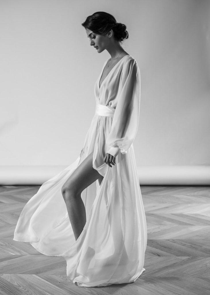 long sleeve chiffon lightweight dress with belt