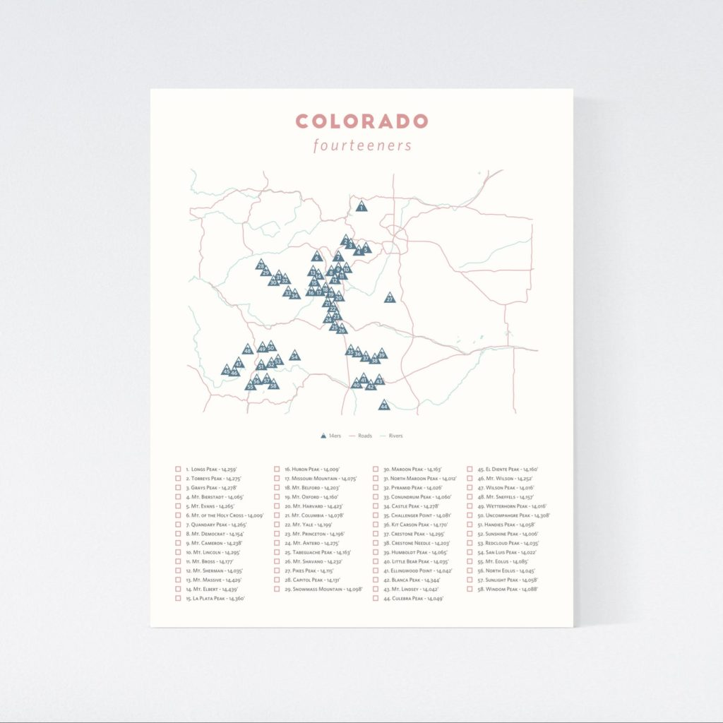 minimalist Colorado 14ers poster map with a checklist at the bottom