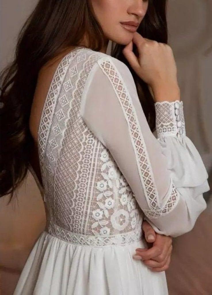 geometric lace backless goddess wedding dress
