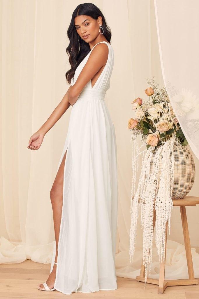 maxi greek style goddess wedding dress with a high slit
