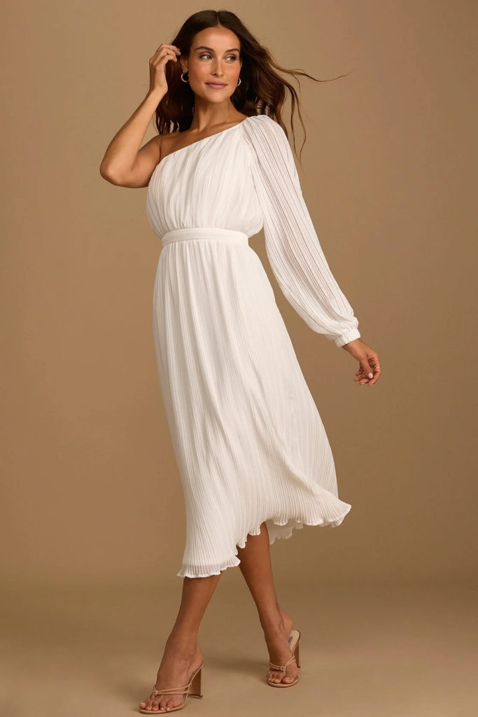 one shoulder mid length goddess wedding dress from Lulus