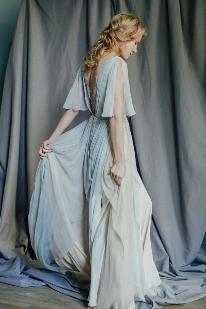 gray and blush silk and lace goddess-style wedding dress