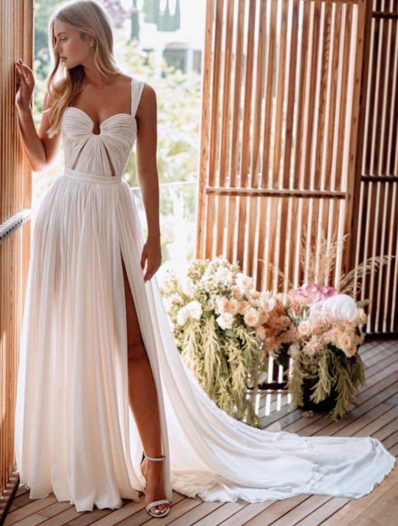 lightweight fitted bodice goddess wedding dress