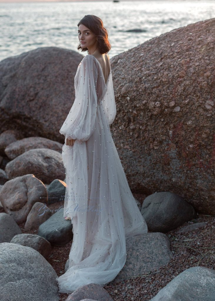 minimalist pearl goddess-style gown