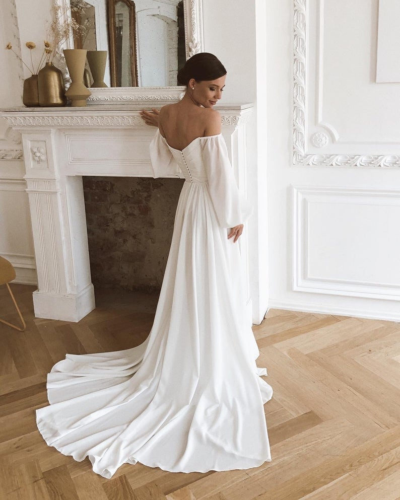 off-shoulder chiffon puffy sleeved elopement dress