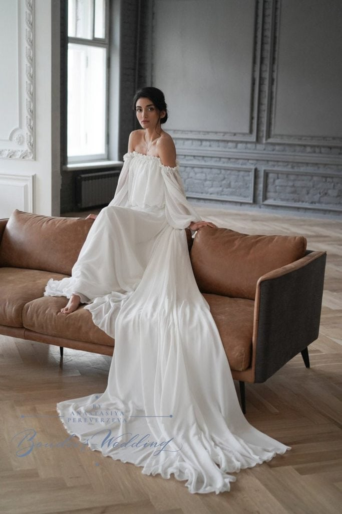 comfortable off-shoulder chiffon gown with long train