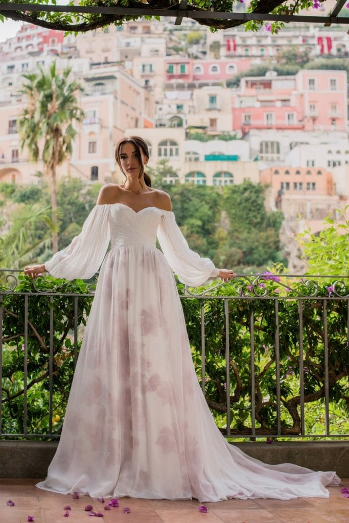 off shoulder greek gown with purple accents