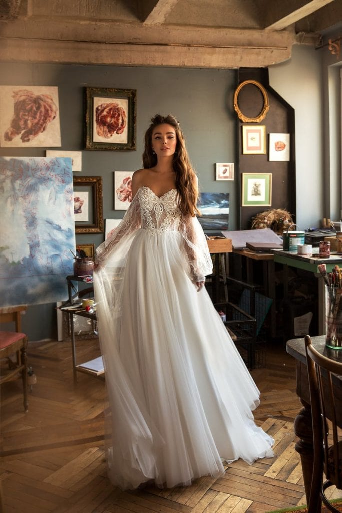 off-shoulder lantern sleeve goddess wedding dress