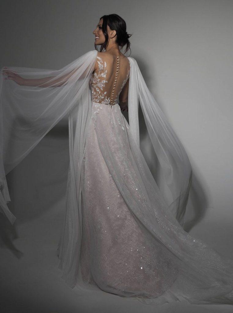 sparkling glittered greek goddess wedding dress with wings