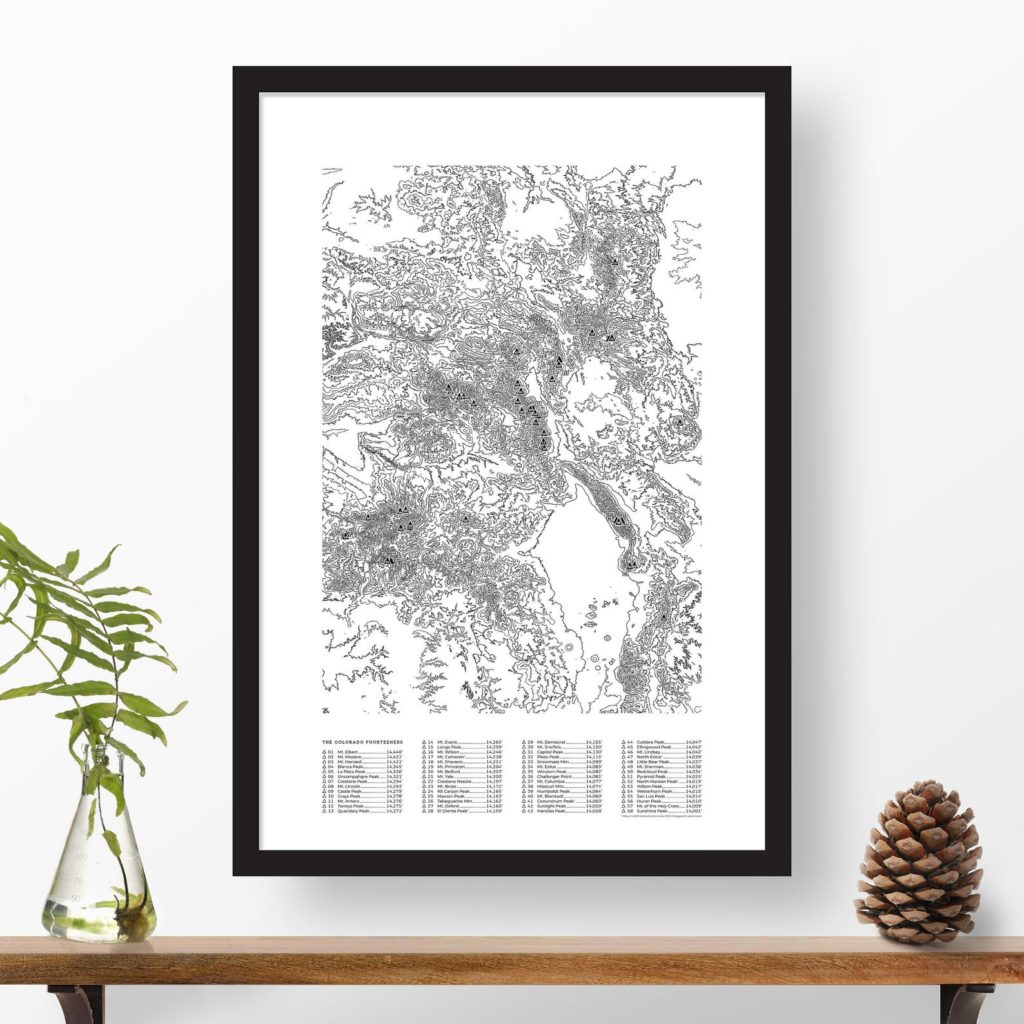 black and white topographic Colorado 14ers map poster framed