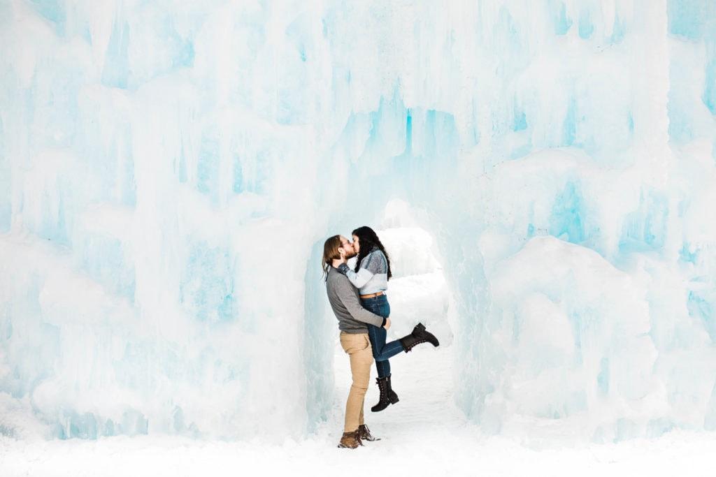 unique romantic winter date ideas at the ice castles in Dillon Colorado