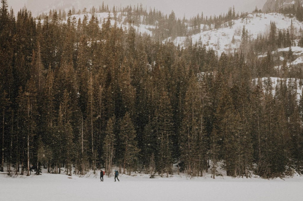 snow covered Bear Lake in Rocky Mountain National Park
