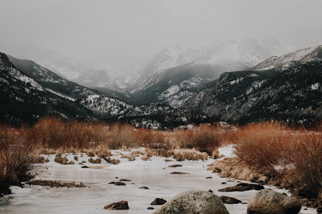 snow covered view of Moraine Park in Rocky Mountain National Park