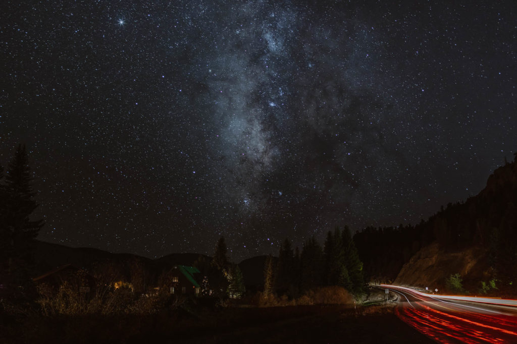 timed photo of the Milky Way on a mountain pass in Colorado